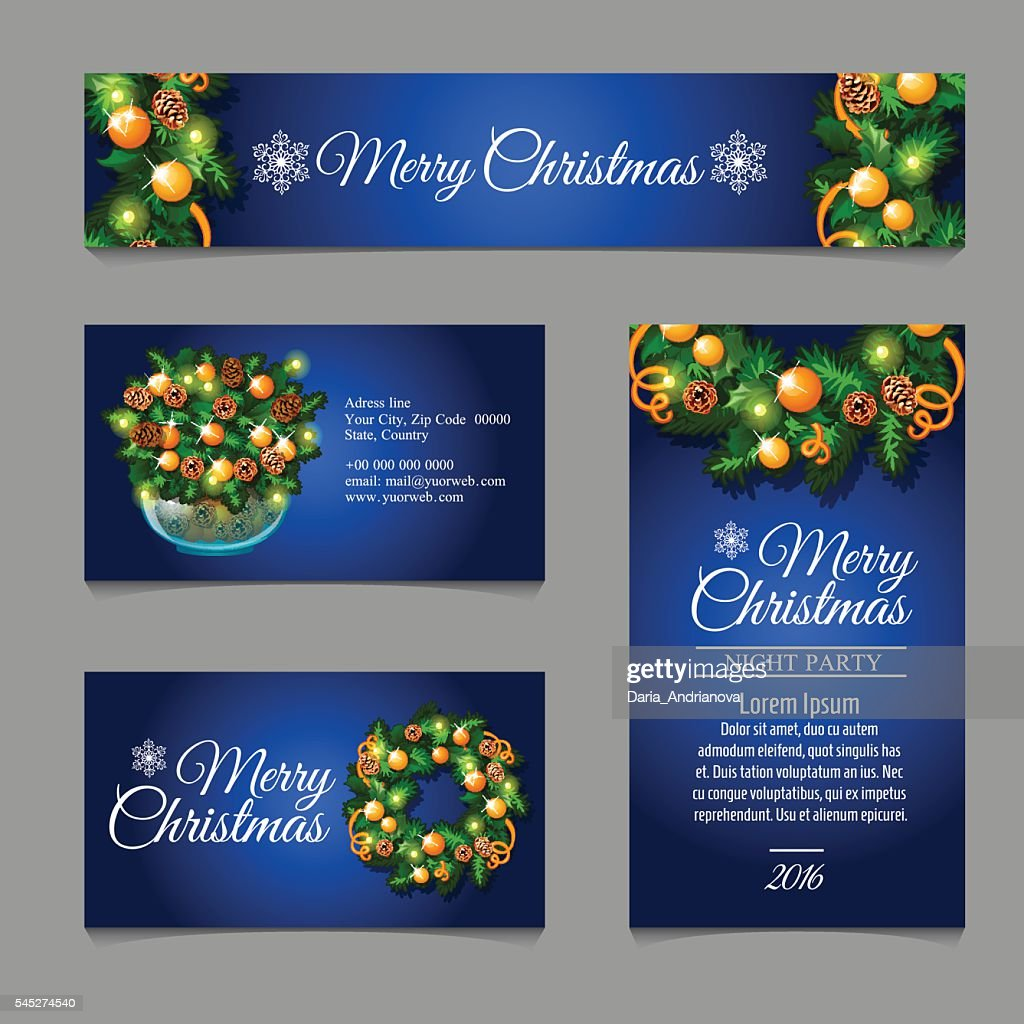 Four business card with Christmas decoration