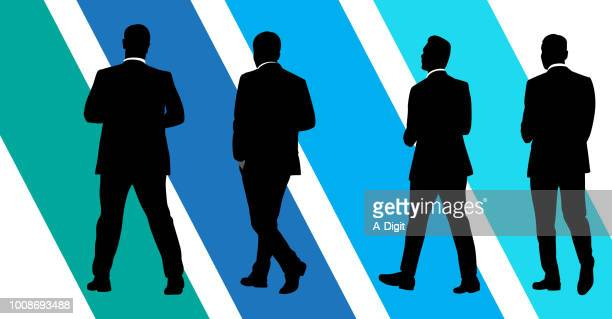 four business men walks - back lit stock illustrations