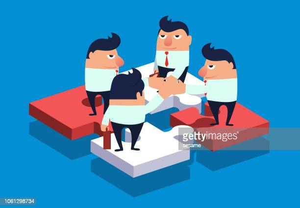 four businessmen clap on the puzzle - small group of objects stock illustrations