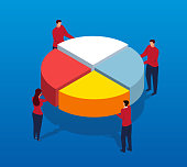 Four businessmen patching pie chart