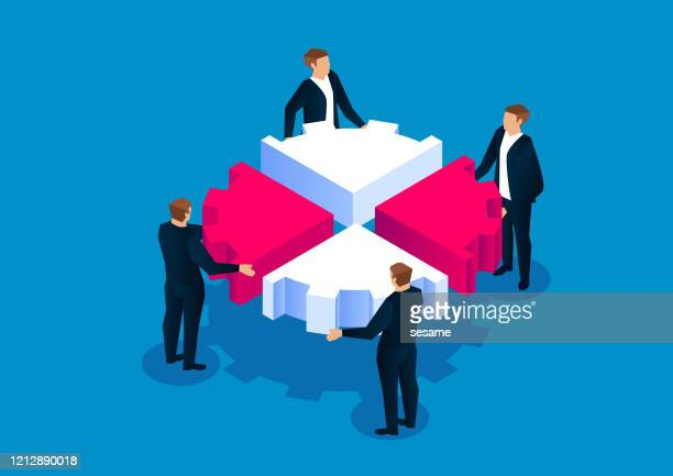 4人のビジネスマンがギアを組み立てた - 合併点のイラスト素材/クリップアート素材/マンガ素材/アイコン素材