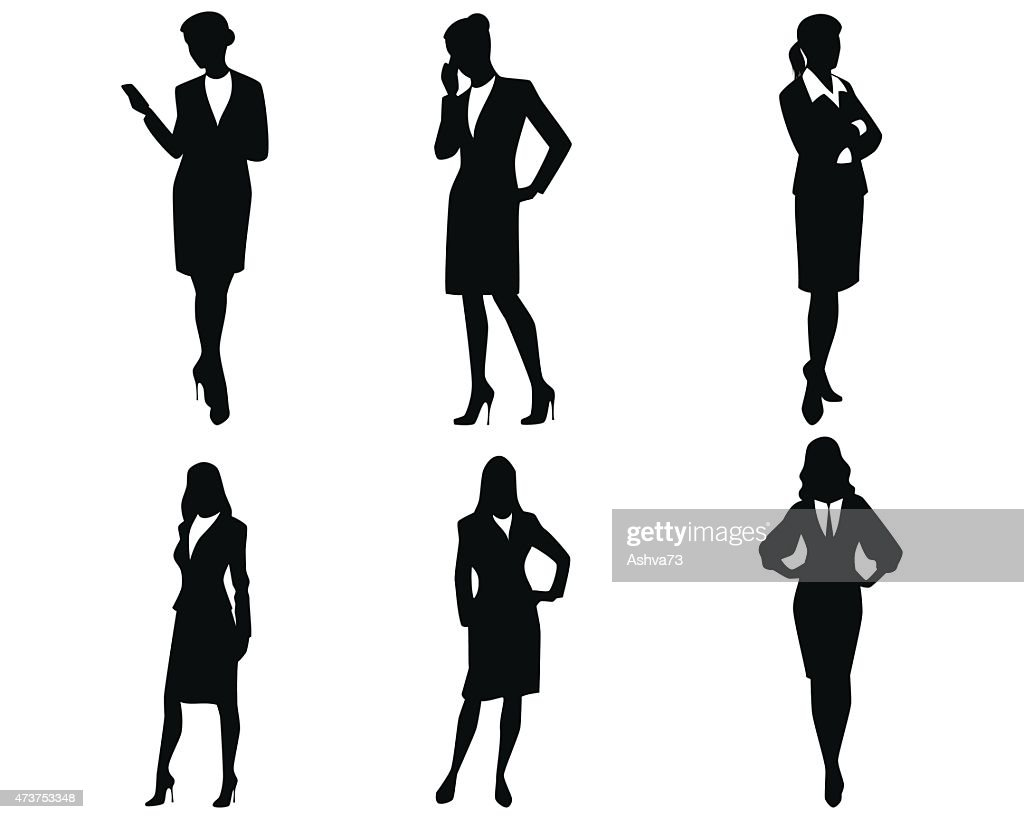 Four businesswoman silhouettes