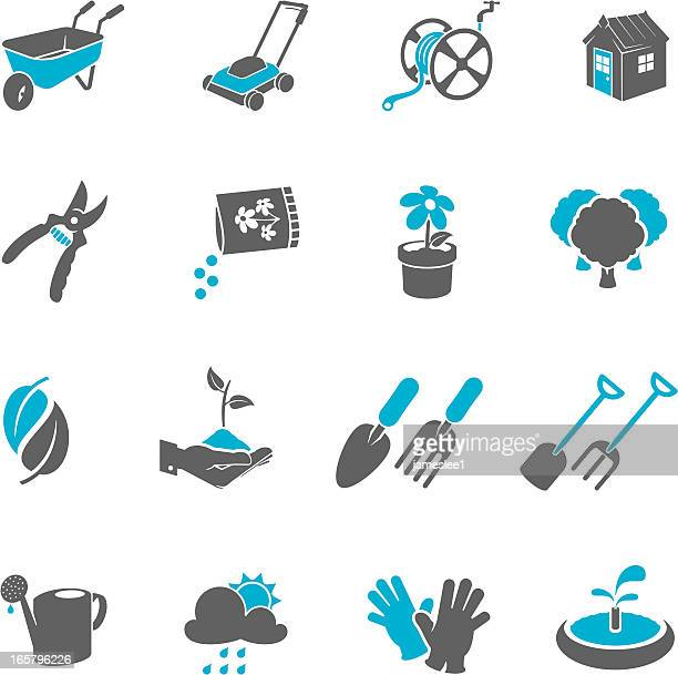 Four by four blue and grey gardening icons
