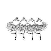 Four cartoon eggs dancing Swan Lake