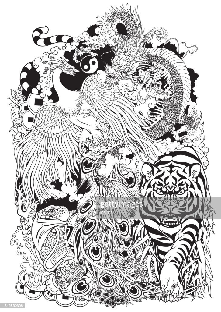 four celestial animals  black and white illustration
