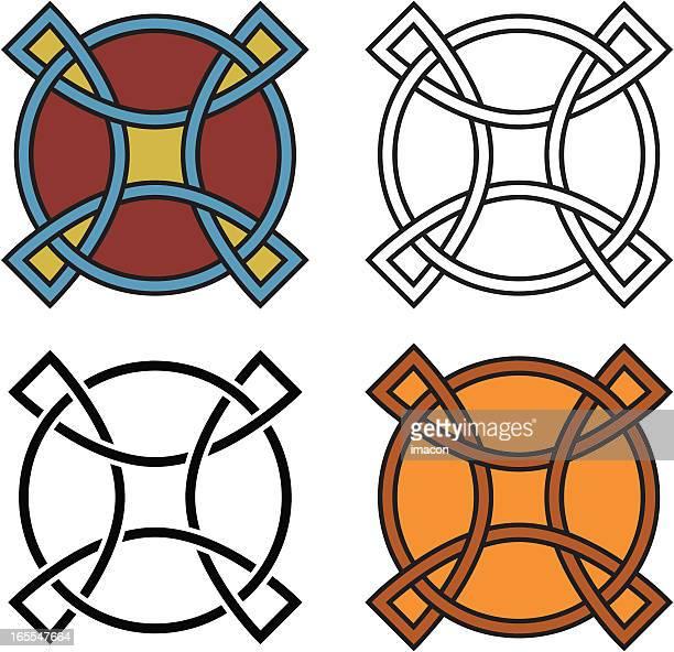 four celtic shields, vector - celtic cross stock illustrations, clip art, cartoons, & icons