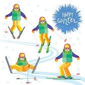 Four child skier