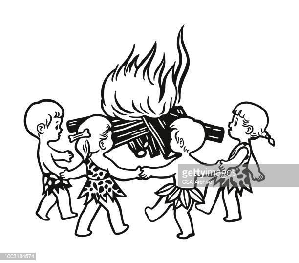 Four Children Playing Around a Bonfire