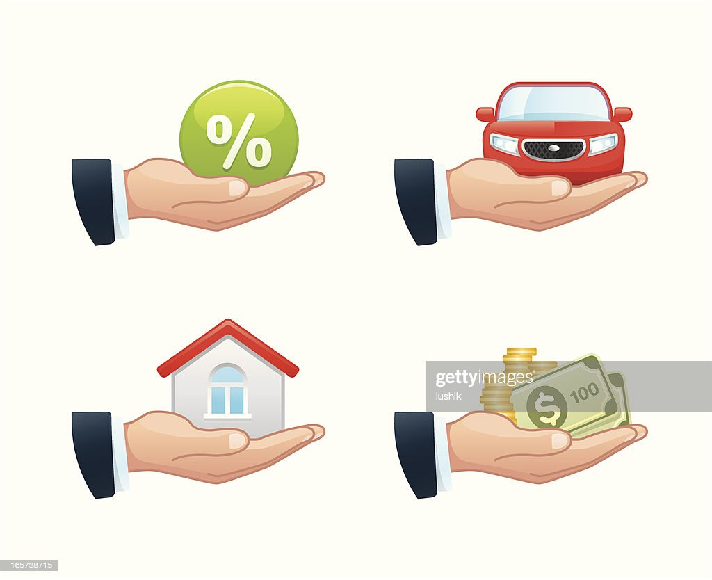 Four clip art illustrations of loan-related considerations : Stock Illustration