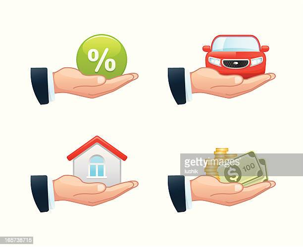 four clip art illustrations of loan-related considerations - car ownership stock illustrations, clip art, cartoons, & icons