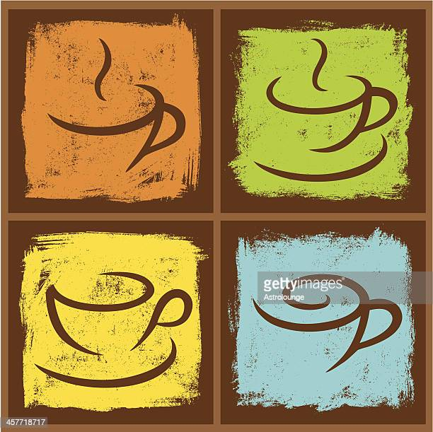 four coffee frames - pottery stock illustrations, clip art, cartoons, & icons