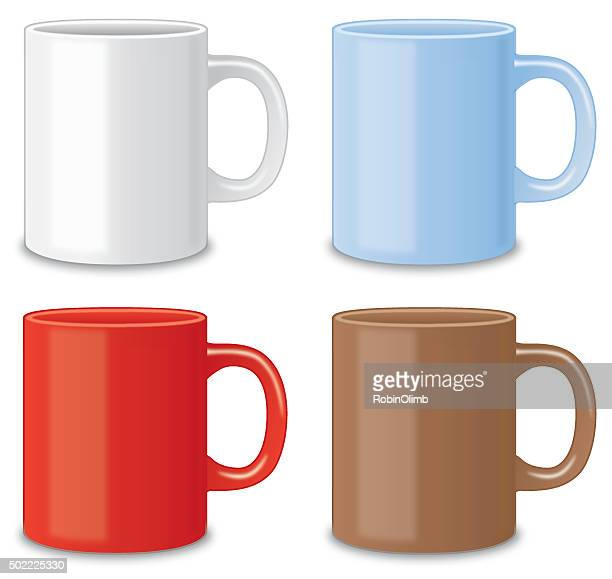 four coffee mugs - mug stock illustrations