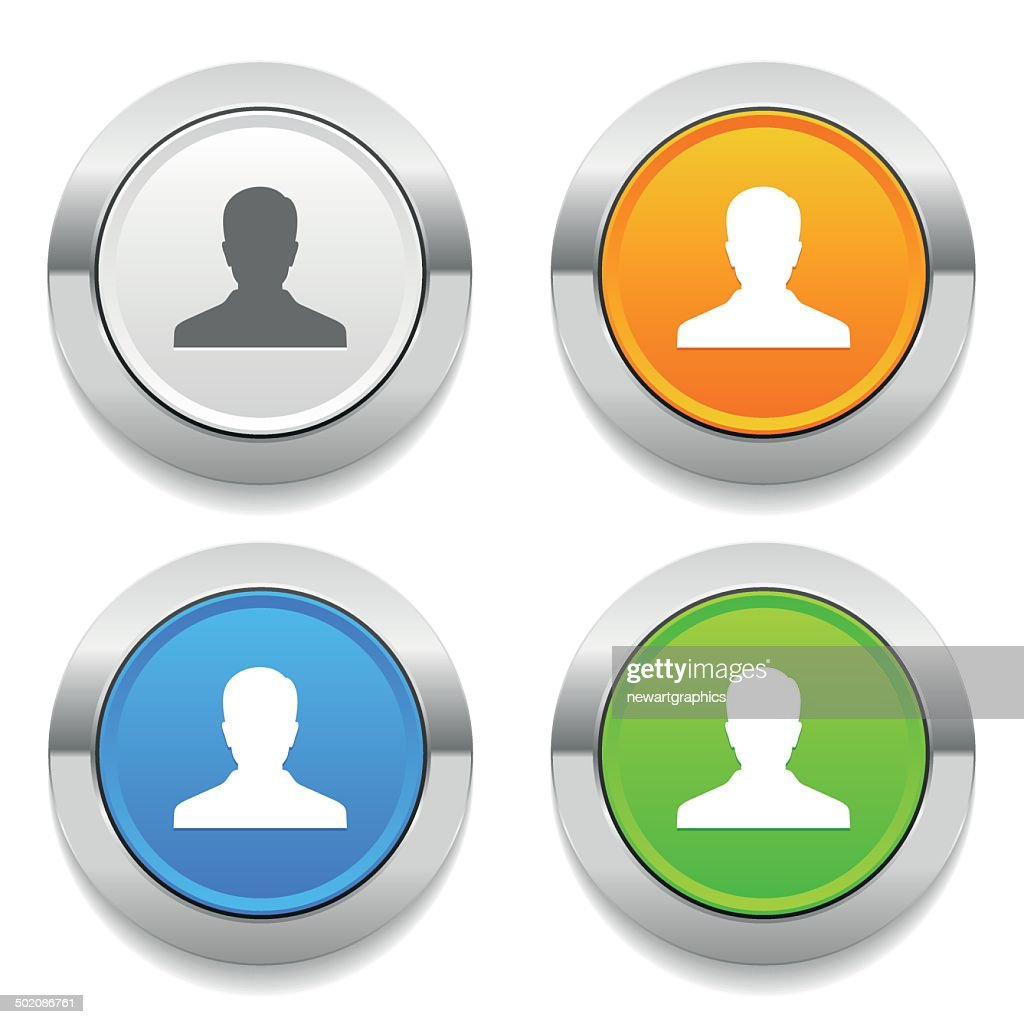 Four color round button with user icon and metallic border