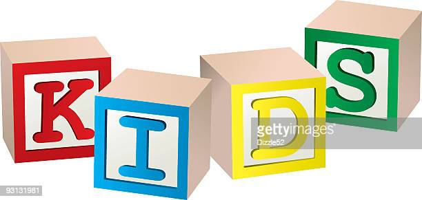 Four colorful cubes forming the word KIDS