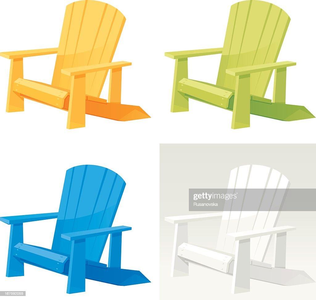 Four colorful muskoka Adirondack armchairs on white back
