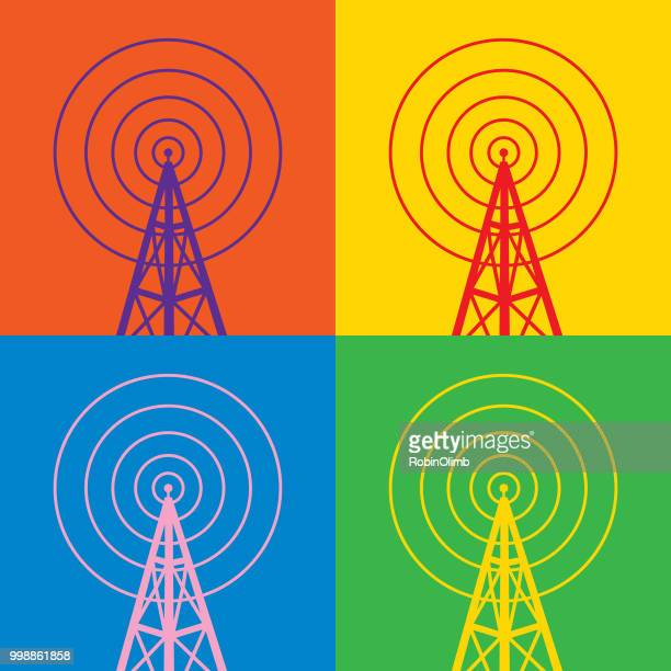 four colorful radio tower icons - tower stock illustrations