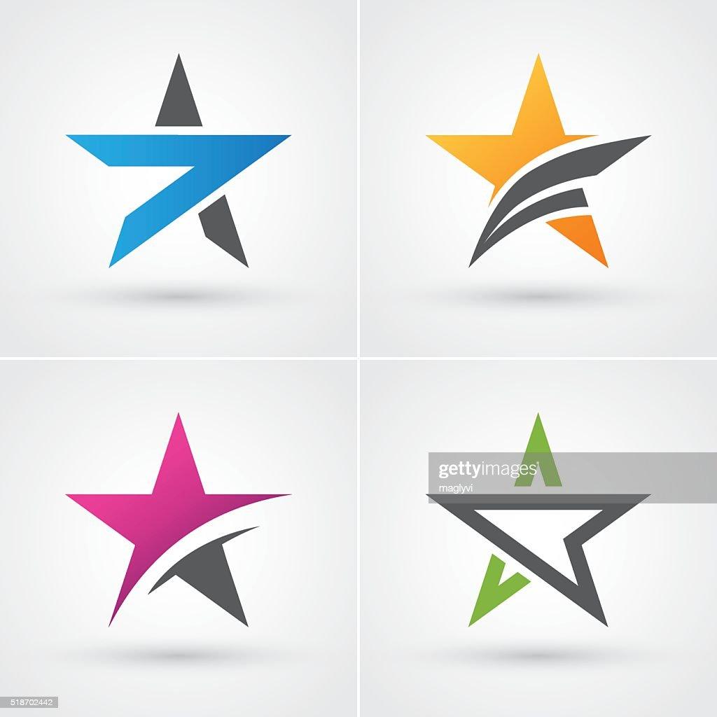 Four colorful stars icon set