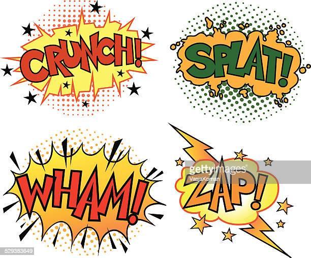 four comic book sound set - crunchy stock illustrations