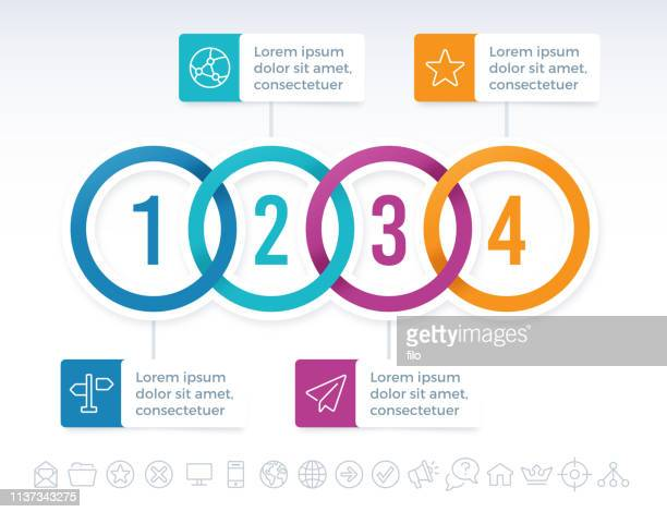 four connected circles infographic idea - four objects stock illustrations