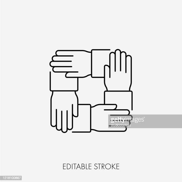 four connected hands. editable stroke - four people stock illustrations