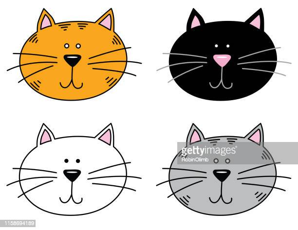 four cute cat faces - animal whisker stock illustrations