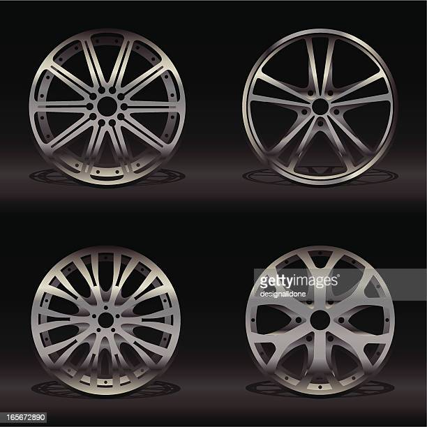 four different alloy wheel designs on a black background - wheel stock illustrations, clip art, cartoons, & icons