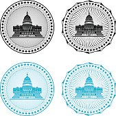 Four different black or blue congressional stamps