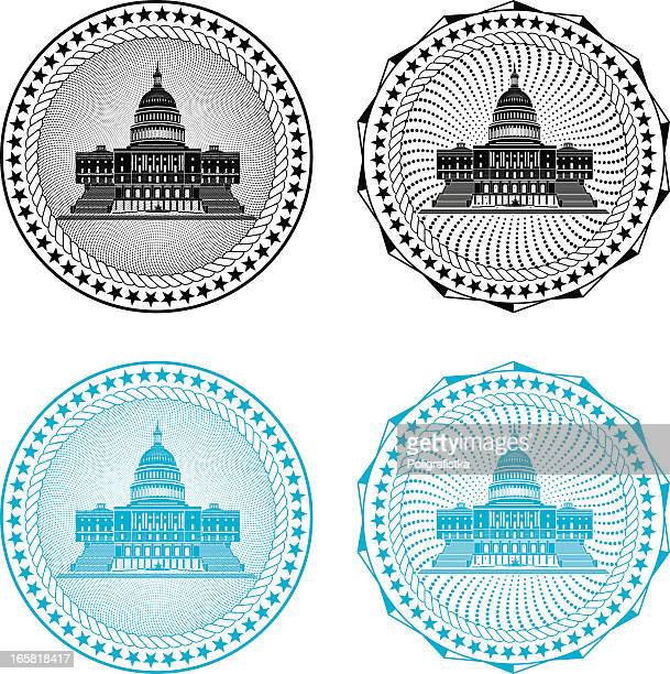 four different black or blue congressional stamps - politics stock illustrations