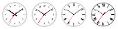 Four different clock faces over white
