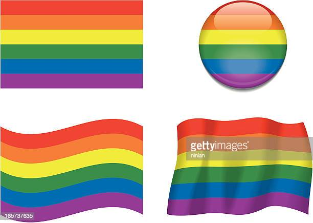 four different flags that represent gay pride  - gay rights stock illustrations