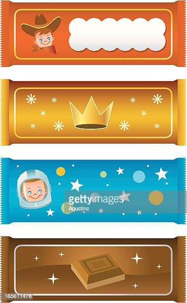 four different illustrations of candy bars - milk chocolate stock illustrations, clip art, cartoons, & icons