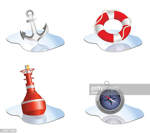 four different nautical themed icons - buoy stock illustrations, clip art, cartoons, & icons
