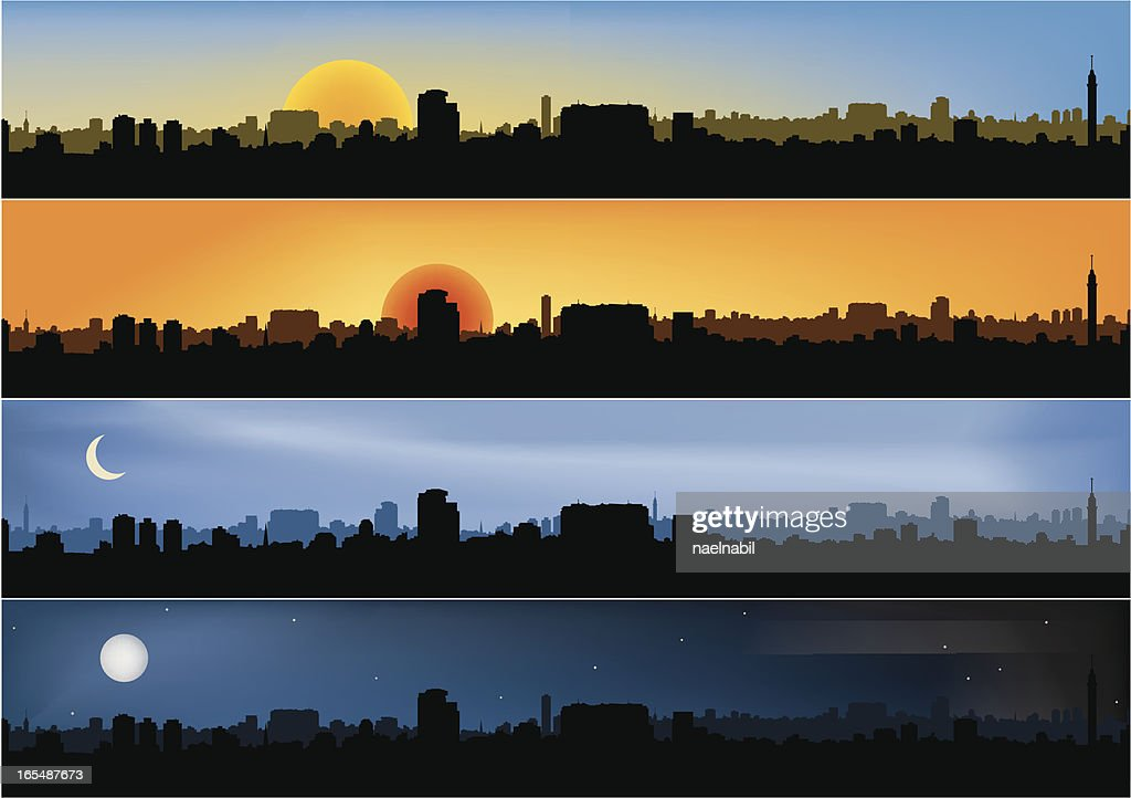 Four different panoramic city scenes