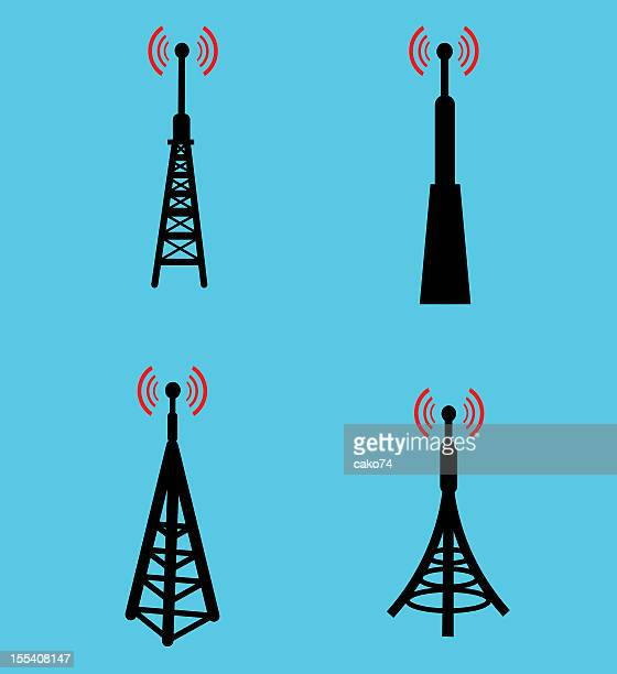 Four different radio antenna icons against a blue background