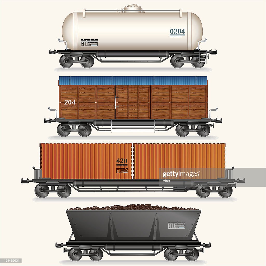 Four different types of cargo train wagons on white