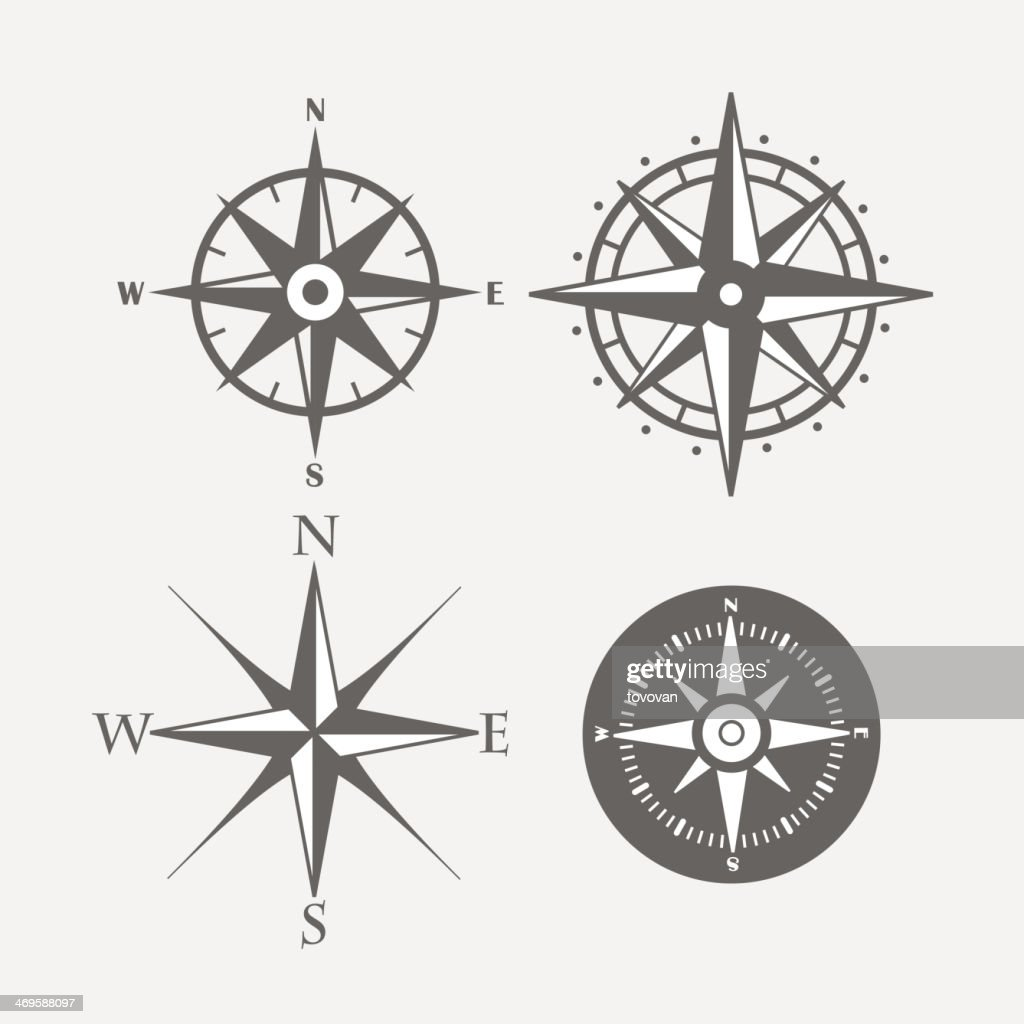 Four directional compasses with different styles