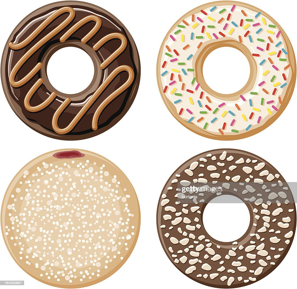 Four Donuts : stock illustration