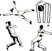 Four Drawings of Cricket Players