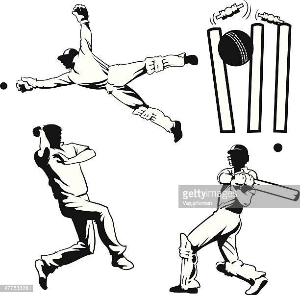 four drawings of cricket players - cricket player stock illustrations