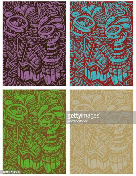 Four drawn faces doodle