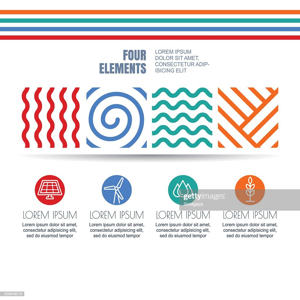 Four Elements Abstract Symbols And Alternative Energy Icons Vector