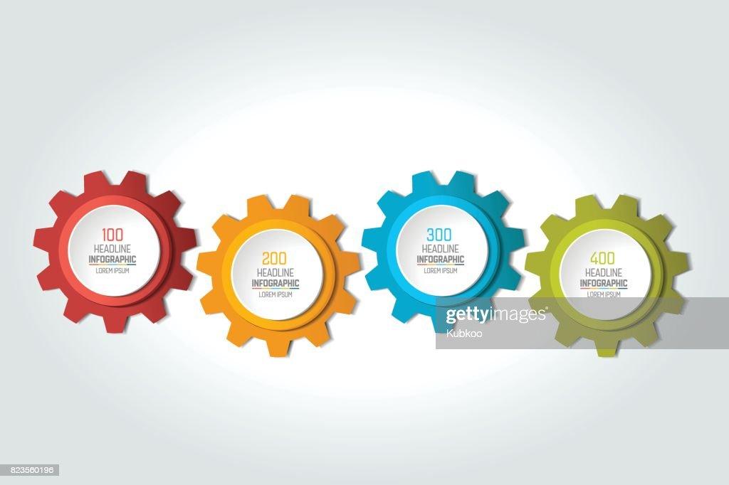 Four elements chart, scheme, diagram. 4 Infographic template.