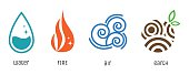 Four elements flat style symbols. Water, fire, air, earth signs