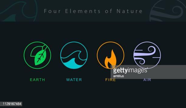 vier neue elemente - wetter stock-grafiken, -clipart, -cartoons und -symbole