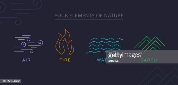four elements - four objects stock illustrations