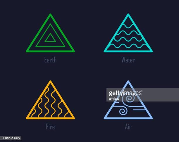 ilustraciones, imágenes clip art, dibujos animados e iconos de stock de cuatro elementos - los cuatro elementos