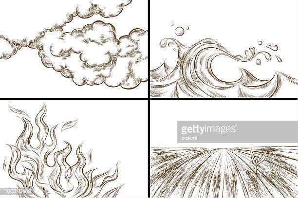 ilustraciones, imágenes clip art, dibujos animados e iconos de stock de cuatro elementos (de un color versión - los cuatro elementos