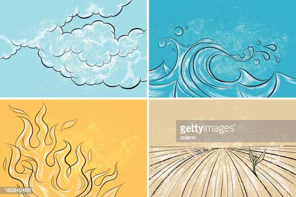 four elements - the four elements stock illustrations