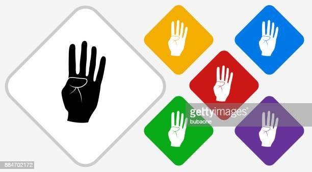 Four Fingers Color Diamond Vector Icon