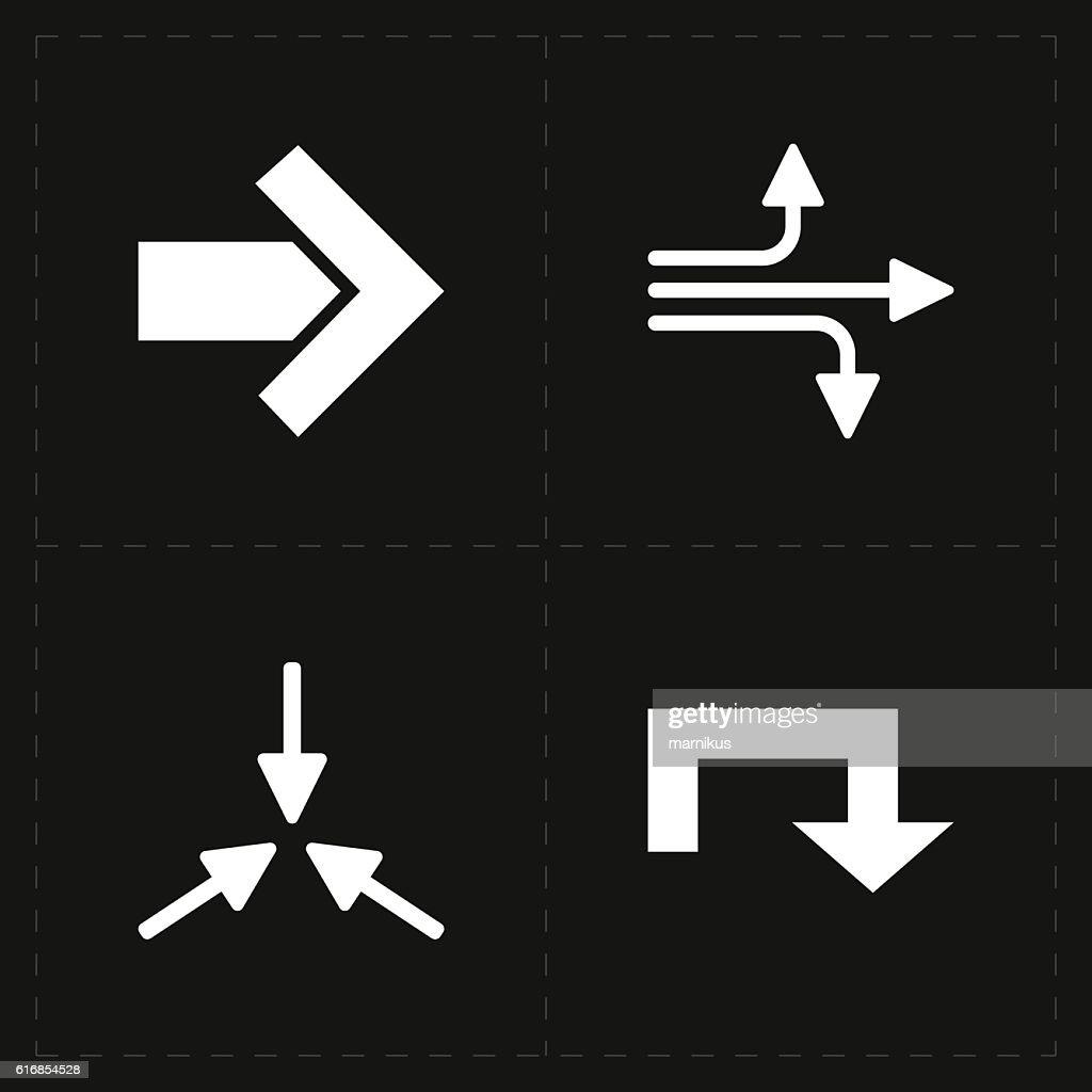 four flat modern arrows